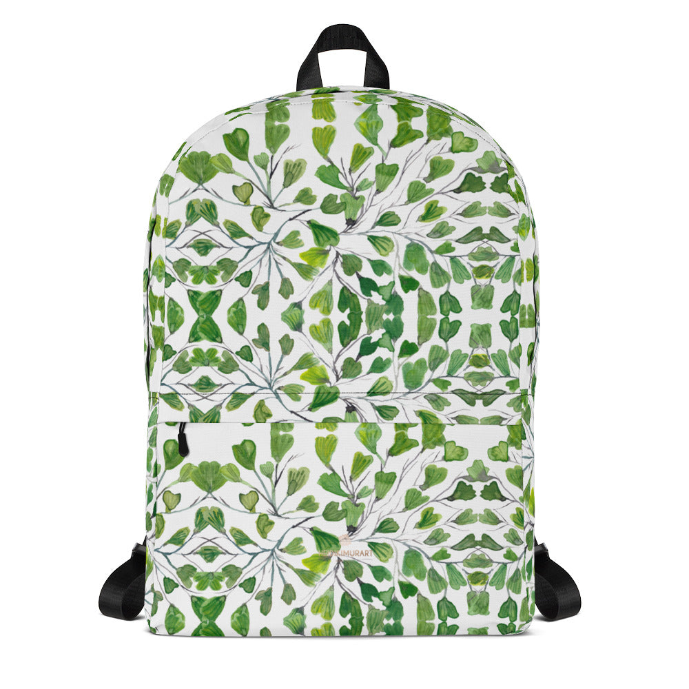 "Green Maidenhair Fern Print Backpack, Adult Designer Tropical Leaf Print School Bag Small Luggage-Heidikimurart Limited -Heidi Kimura Art LLC Green Maidenhair Fern Print Backpack, Adult Designer Tropical Leaf Print Designer Medium Size (Fits 15"" Laptop) Water Resistant College Unisex Backpack for Travel/ School/ Work - Made in USA/ Europe"