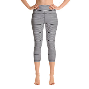 Black Striped Yoga Capri Leggings, Women's Horizontally Stripes Modern Capris Tights-Heidikimurart Limited -XS-Heidi Kimura Art LLC