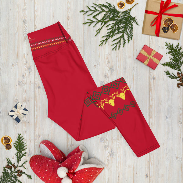 Red Reindeer Christmas Yoga Leggings, Modern Festive Xmas Women's Tights-Heidikimurart Limited -Heidi Kimura Art LLC Red Reindeer Christmas Yoga Leggings, Modern Festive Xmas Party Animal Print Gym Active Fitted Leggings Sports Yoga Pants - Made in USA/EU/MX (US Size: XS-XL)