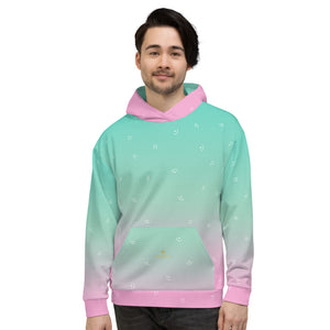 Pink Blue Ombre Print Men's or Women's Unisex Hoodie Pullover- Made in Europe-Men's Hoodie-XS-Heidi Kimura Art LLC
