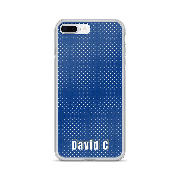 Blue Polka Dots Print Custom Names iPhone Case-Made in USA-Phone Case-iPhone 7 Plus/8 Plus-Heidi Kimura Art LLC