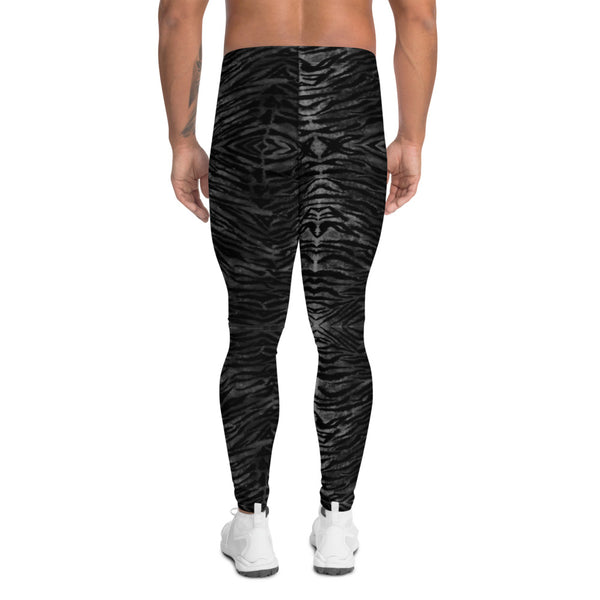 Black Tiger Striped Print Meggings, Sexy Animal Print Designer Men's Leggings-Heidikimurart Limited -Heidi Kimura Art LLC