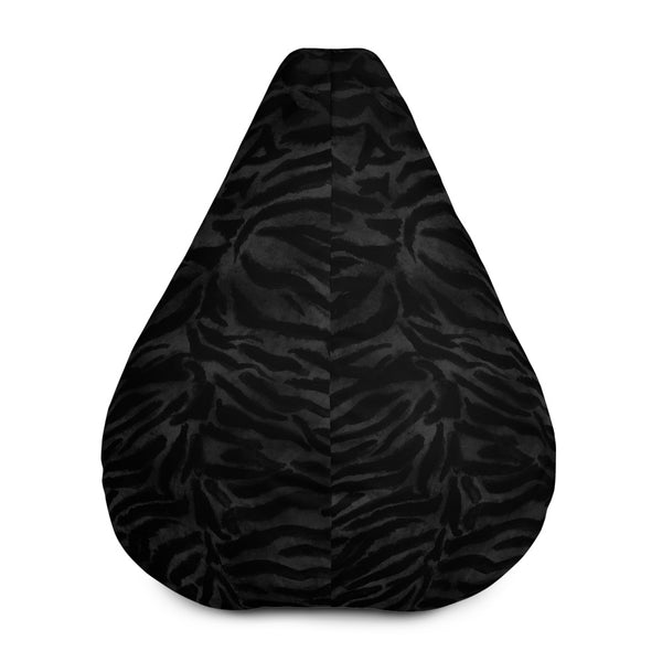 Luxury Black Tiger Striped Animal Print Water Resistant Polyester Bean Sofa Bag-Bean Bag-Bean Bag w/ Filling-Heidi Kimura Art LLC