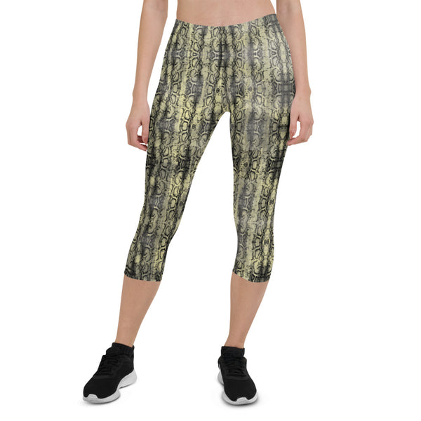 Snake Print Sexy Capri Leggings, Women's Premium Snakeskin Printed Casual Tights-Made in USA/EU-Heidikimurart Limited -Heidi Kimura Art LLC Snake Print Sexy Capri Leggings, Women's Premium Snakeskin Printed Capri Designer Spandex Dressy Casual Fashion Leggings - Made in USA/EU/MX (US Size: XS-XL)