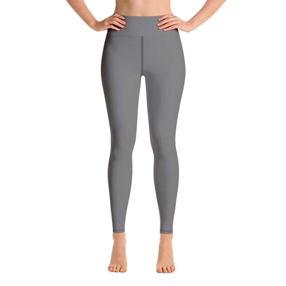 Women's Gray Solid Color Active Wear Fitted Leggings Sports Long Yoga & Barre Pants - Made in USA-Leggings-XS-Heidi Kimura Art LLC
