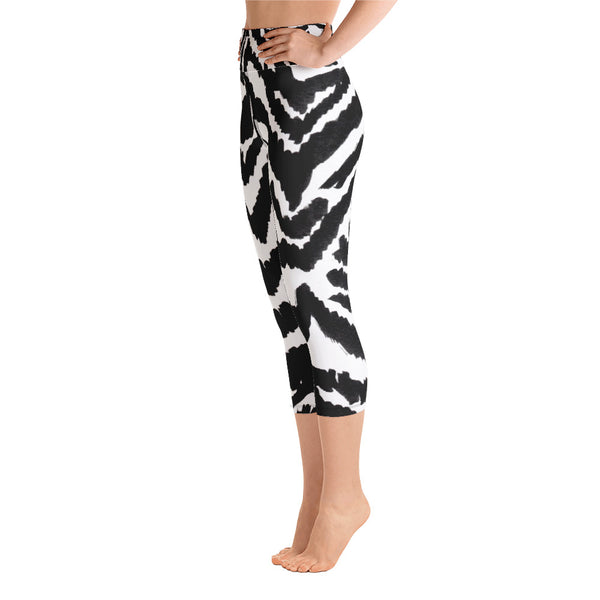 White Black Zebra Stripe Animal Print Women's Yoga Capri Leggings- Made in USA (XS-XL)-Capri Yoga Pants-Heidi Kimura Art LLC Zebra Striped Women's Capri Leggings, White Black Zebra Stripe Animal Print Women's Yoga Capri Leggings Pants- Made in USA/EU (US Size: XS-XL)
