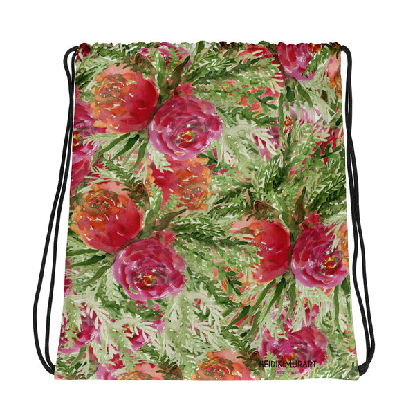 "Saki Orange Red Rose Floral Print Designer 15""x17"" Drawstring Bag - Made in USA/ Europe - Heidi Kimura Art LLC"