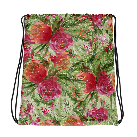 "Orange Red Rose Floral Print Designer 15""x17"" Drawstring Bag - Made in USA/ Europe-Drawstring Bag-Heidi Kimura Art LLC"