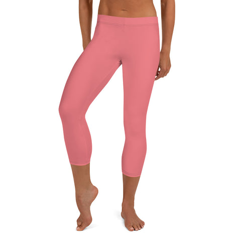 Peach Pink Women's Capri Leggings, Solid Color Modern Capris Tights-Made in USA/EU-Heidi Kimura Art LLC-Heidi Kimura Art LLC Peach Pink Women's Capri Leggings, Modern Solid Color Capri Designer Spandex Dressy Casual Fashion Leggings - Made in USA/EU (US Size: XS-XL)
