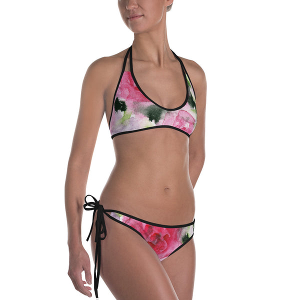 Pink Rose Floral Print Bikini Women's 2 pc Designer Swimsuit Swimwear- Made in USA/EU-Swimwear-Black-XS-Heidi Kimura Art LLC
