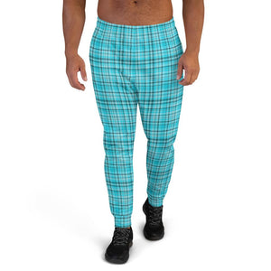 Light Blue Tartan Print Men's Joggers Premium Plaid Print Casual Sweatpants - Made in EU-Men's Joggers-XS-Heidi Kimura Art LLC