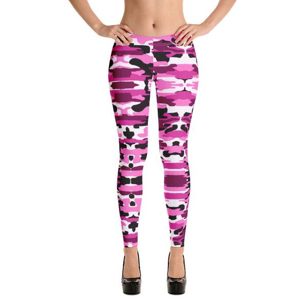 Best Ladies' Pink Camo Leggings, Purple Pink Sexy Military Print Casual Tights-Heidikimurart Limited -Heidi Kimura Art LLC