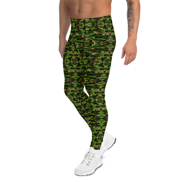 Green Camo Print Army Meggings, Green Camo Camouflage Military Army Abstract Print Sexy Meggings Men's Workout Gym Tights Leggings, Costume Rave Party Fashion Compression Tight Pants - Made in USA/ EU (US Size: XS-3XL)