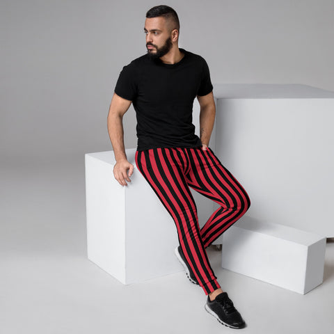 Red Black Striped Men's Joggers, Vertical Stripes Circus Rave Festival Modern Casual Minimalist Slim-Fit Designer Ultra Soft & Comfortable Men's Joggers, Men's Jogger Pants-Made in EU (US Size: XS-3XL)