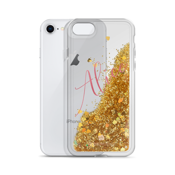 Pink Foil Custom Name Designer Shiny Liquid Glitter Phone Case-Made in USA-Phone Case-Gold-iPhone 7/8-Heidi Kimura Art LLC