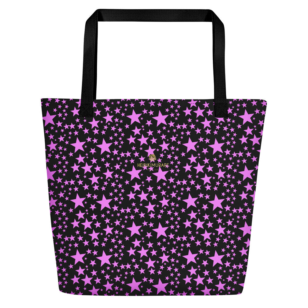 "Black Pink Star Pattern Print Designer Large 16""x20"" Beach Shopping Bag- Made in USA/EU-Beach Tote Bag-Black-Heidi Kimura Art LLC Black Pink Star Beach Bag, Black Pink Star Pattern Colorful Print Unisex 16""x20"" Large Beach Bag With Large Inside Pocket - Made in USA/EU, Star Print Designer Beach Bag, Stars Tote Bags, Best Large Beach Tote Bag"
