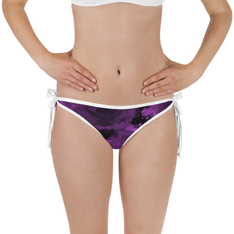 Purple Floral Rose Print Bikini Bottom Women's Swimsuit - Made in USA/ Europe-Swimwear-XS-Heidi Kimura Art LLC Purple Floral Rose Bikini Bottom, Purple Floral Rose Print Bikini Bottom Women's Swimsuit - Made in USA/ Europe (US Size: XS-3XL)