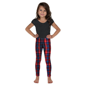 Red Plaid Tartan Print Designer Kid's Leggings Activewear Pants (2T-7) Made in USA/EU-Kid's Leggings-2T-Heidi Kimura Art LLC