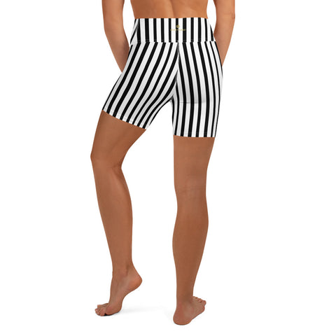 Black Striped Yoga Shorts, Black White Vertical Stripe Print Best Bestselling Women's Sexy Premium Quality Yoga Shorts, Short Workout Hot Pants, Made in USA/ EU  (US Size: XS-XL) Striped yoga short pants, Striped Yoga Leggings, Womens Activewear and Yoga Leggings, Cute Stripe Leggings, Black And White Striped Leggings, Womens Yoga & Pilates Wear, black and white striped leggings