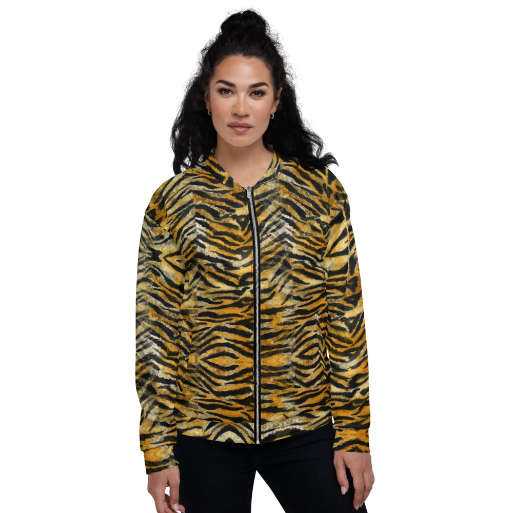 Tiger Stripe Bomber Jacket, Unisex Jacket For Men or Women-Heidi Kimura Art LLC-XS-Heidi Kimura Art LLC Orange Brown Tiger Stripe Bomber Jacket, Animal Print Premium Quality Modern Unisex Jacket For Men/Women With Pockets-Made in EU
