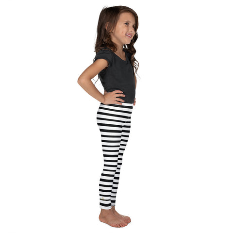 White Black Horizontal Stripe Print Kid's Leggings Elastic Fitness Tights- Made in USA/ EU-Kid's Leggings-Heidi Kimura Art LLC White Black Horizontal Stripe Girl's Pants, White Black Horizontal Stripe Print Designer Kid's Girl's Leggings Active Wear 38-40 UPF Fitness Workout Gym Wear Running Tights, Comfy Stretchy Pants (2T-7) Made in USA/EU, Girls' Leggings & Pants, Leggings For Girls, Designer Girls Leggings Tights, Leggings For Girl Child