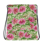 "Mayu Pink Rose Floral Print Designer 15""x17"" Drawstring Bag - Made in USA/ Europe - Heidi Kimura Art LLC"
