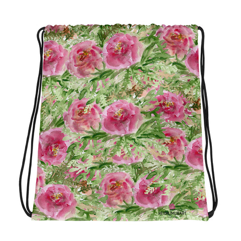 "Pink Rose Floral Print Designer 15""x17"" Best Premium Quality Drawstring Bag - Made in USA/ Europe-Drawstring Bag-Heidi Kimura Art LLC"