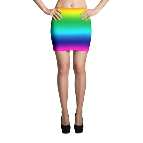 Rainbow Ombre Print Mini Skirt, Gay Pride Rainbow Printed Women's Skirt- Made in USA/EU-Mini Skirt-XS-Heidi Kimura Art LLC