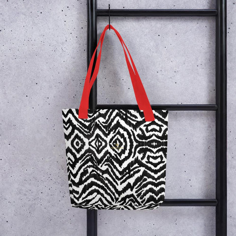 "Designer Black White Zebra Animal Print 15"" x 15"" Tote Market Bag- Made in USA/EU-Tote Bag-Red-Heidi Kimura Art LLC"