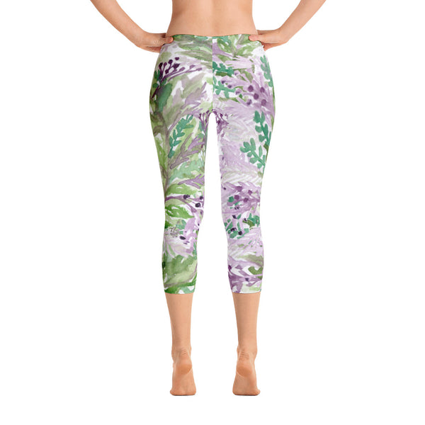 Lavender Floral Print Capri Leggings, Designer Capris Spandex Soft Tights- Made in USA/EU-capri leggings-XS-Heidi Kimura Art LLC