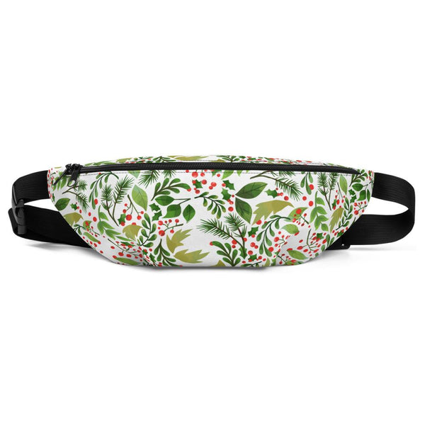 Green White Christmas Red Berries Floral Print Designer Fanny Pack- Made in USA/EU-Fanny Pack-S/M-Heidi Kimura Art LLC