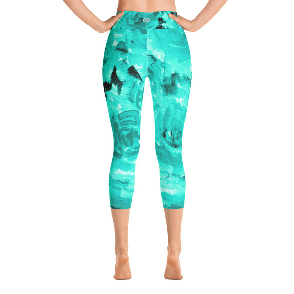 Turquoise Blue Floral Print Capri Leggings, Rose Print Women's Pants -Made in USA/ EU-Capri Yoga Pants-Heidi Kimura Art LLC