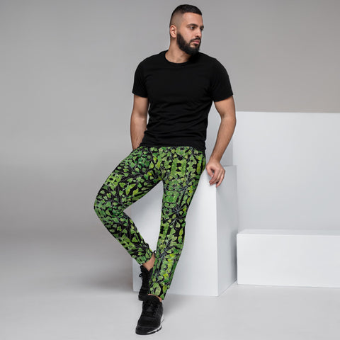 Black Maidenhair Green Men's Joggers, Best Designer Tropical Leaf Print Modern Slim-Fit Designer Ultra Soft & Comfortable Men's Joggers, Men's Jogger Pants-Made in EU/MX (US Size: XS-3XL)
