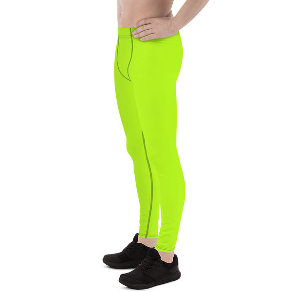 Hikari Lime Green Neon Men's Running Leggings & Run Tights Meggings Activewear- Made in USA/ Europe