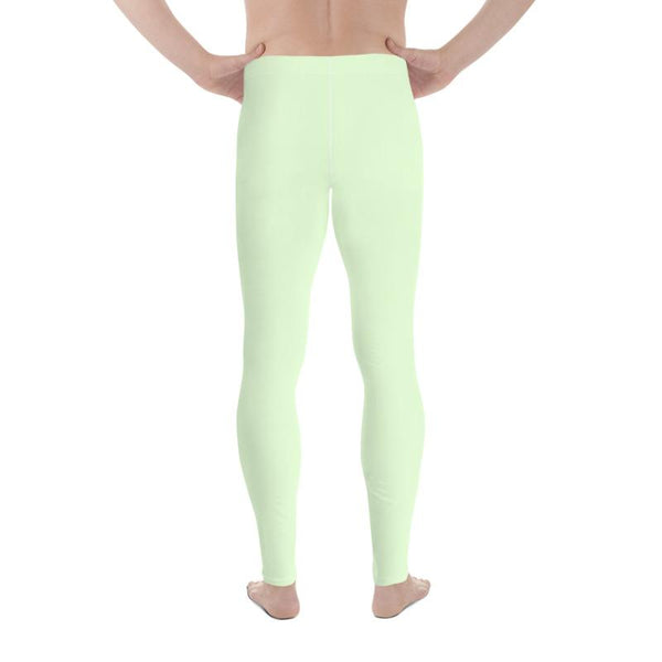 Light Pastel Mint Green Meggings Compression Tights Men's Leggings-Made in USA/EU-Men's Leggings-Heidi Kimura Art LLC Pastel Mint Green Meggings, Light Pastel Mint Green Solid Color Premium Classic Elastic Comfy Men's Leggings Fitted Tights Pants - Made in USA/EU (US Size: XS-3XL) Meggings Men's Workout Gym Tights Leggings, Compression Tights, Kinky Fetish Men Pants