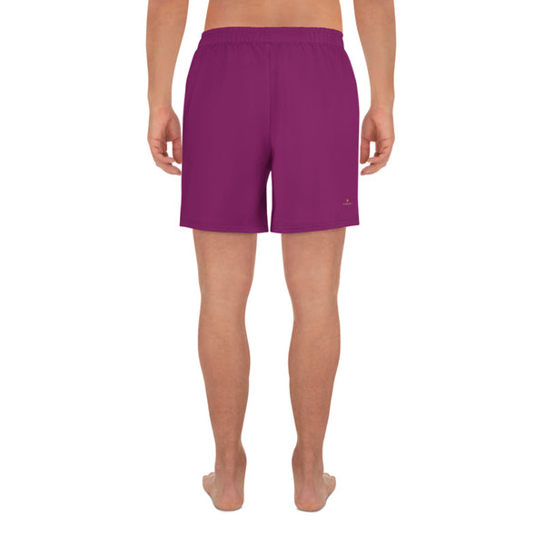 Dark Purple Solid Color Print Premium Men's Athletic Long Shorts - Made in Europe-Men's Long Shorts-Heidi Kimura Art LLC