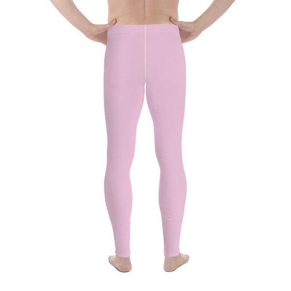 Light Ballet Pink Solid Color Print Premium Men's Leggings Meggings- Made in USA/EU-Men's Leggings-Heidi Kimura Art LLC