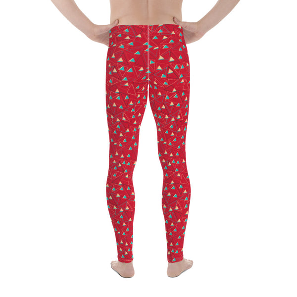 Red Hot Triangular Geometric Men's Leggings Tights Meggings Pants - Made in USA/EU-Men's Leggings-Heidi Kimura Art LLC