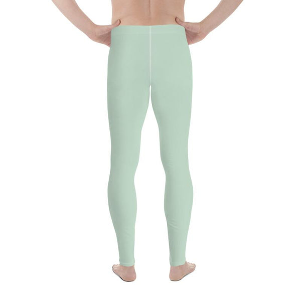 Pistachio Light Pastel Green Solid Color Best Meggings Men's Leggings-Made in USA/EU-Men's Leggings-Heidi Kimura Art LLC