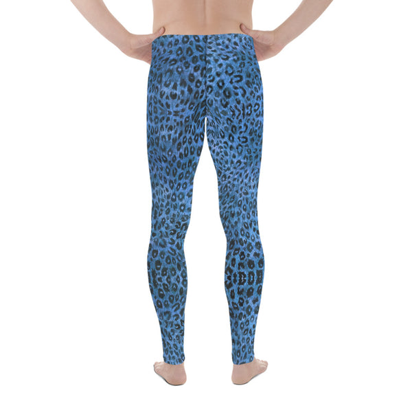 Blue Leopard Men's Leggings, Animal Print Meggings Compression Tights-Heidikimurart Limited -Heidi Kimura Art LLC Blue Leopard Print Men's Leggings, Animal Print Leopard Modern Meggings, Men's Leggings Tights Pants - Made in USA/EU/MX (US Size: XS-3XL) Sexy Meggings Men's Workout Gym Tights Leggings