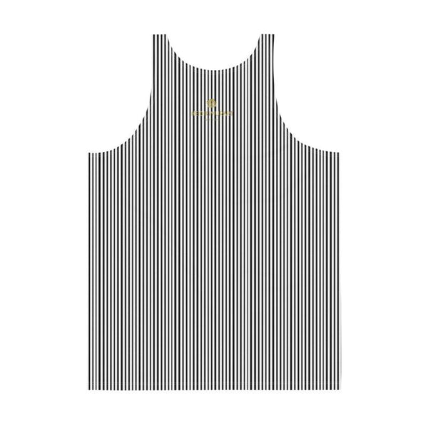 Black White Vertical Stripe Print Modern Men's or Women's Unisex Tank Top- Made in USA-Men's Tank Top-Heidi Kimura Art LLC