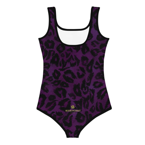 Purple Leopard Print Girl's Swimwear, Animal Print Kids Cute Swimsuit- Made in USA/EU-Kid's Swimsuit (Girls)-Heidi Kimura Art LLC