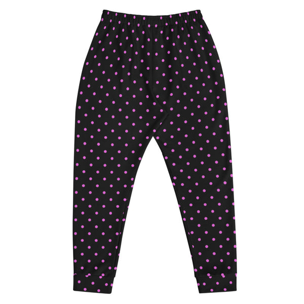 Black Pink Polka Dots Men's Joggers, Dots Print Men's Luxury Sweatpants- Made in EU-Men's Joggers-Heidi Kimura Art LLC