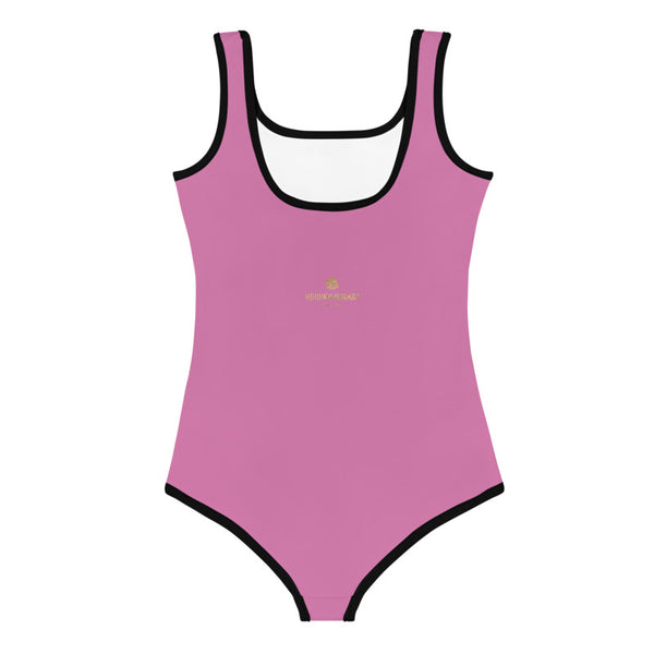 Solid Pink Color Designer Premium Quality Kids Swimsuit- Made in USA (US Size: 2T-7)-Kid's Swimsuit (Girls)-Heidi Kimura Art LLC