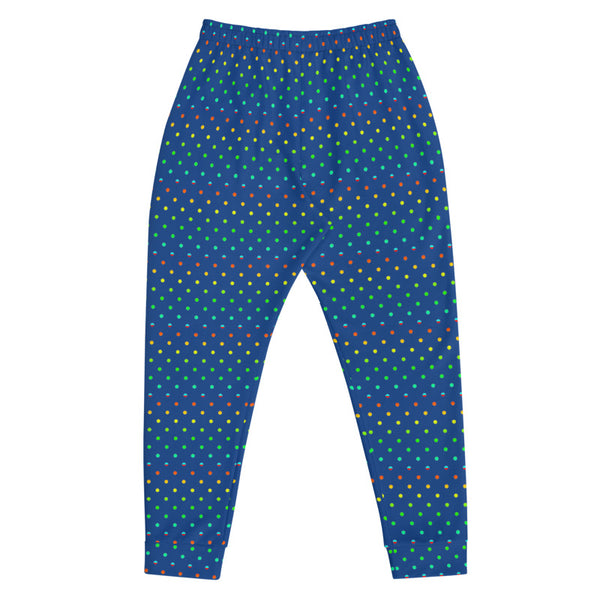 Cobalt Blue Rainbow Polka Dots Print Designer Men's Joggers-Made in EU-Men's Joggers-Heidi Kimura Art LLC