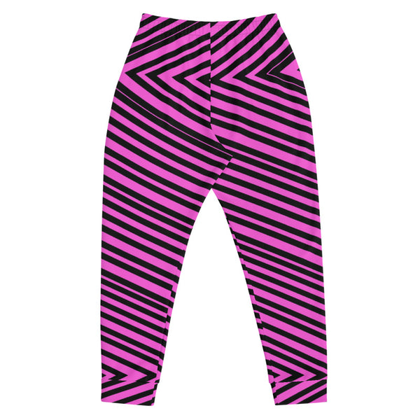 Pink Black V Shape Stripe Print Designer Men's Joggers Jogging Bottoms Pants- Made in EU-Men's Joggers-Heidi Kimura Art LLC