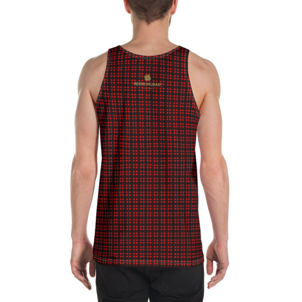 Red Black Buffalo Plaid Print Designer Unisex Men's or Women's Tank Top- Made in USA-Men's Tank Top-Heidi Kimura Art LLC