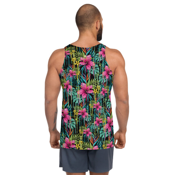 Tropical Floral Unisex Tank Top, Pink Flower Print Best Premium Unisex Men's/ Women's Stylish Premium Quality Men's Unisex Tank Top - Made in USA/ Europe (US Size: XS-2XL)