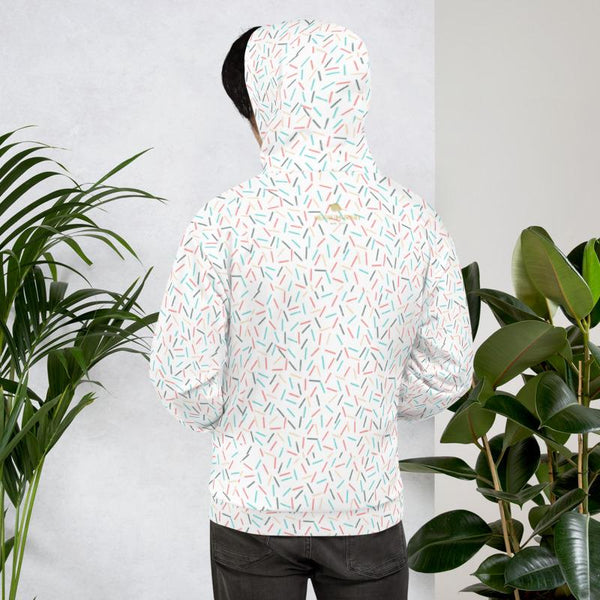 White Sprinkle Birthday Print Unisex Hoodie Pullover Sweatshirt For Women- Made in EU-Men's Hoodie-Heidi Kimura Art LLC