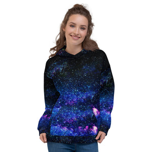 Blue Galaxy Space Print Women's Unisex Hoodie- Made in Europe (US Size: XS-3XL)-Women's Hoodie-XS-Heidi Kimura Art LLC Blue Galaxy Women's Hoodies, Space Blue Galaxy Space Print Men's or Women's Unisex Hoodie- Made in Europe (US Size: XS-3XL), Women's or